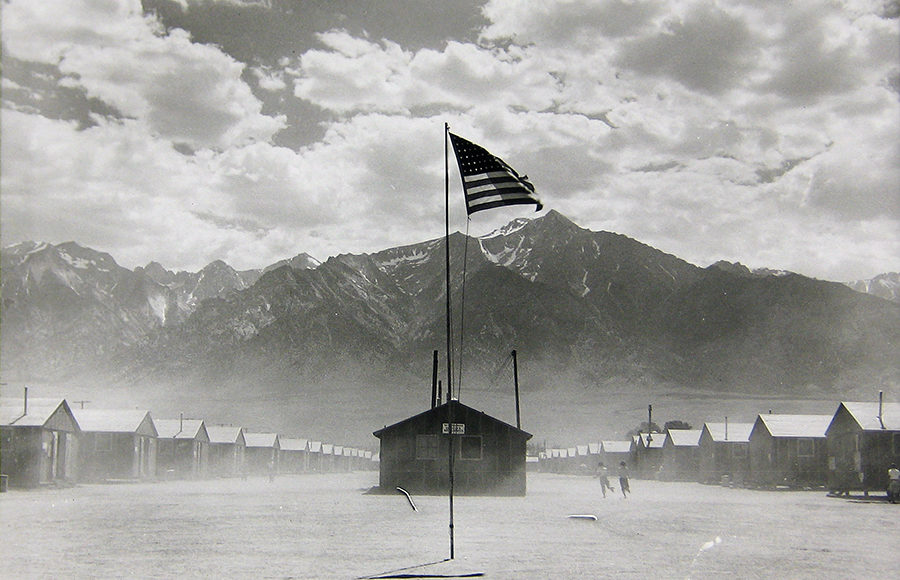 """Manzanar Relocation Center, Manzanar, California.""  Dorothea Lange (1942). Collection of the Oakland Museum of California, gift of Paul S. Taylor."