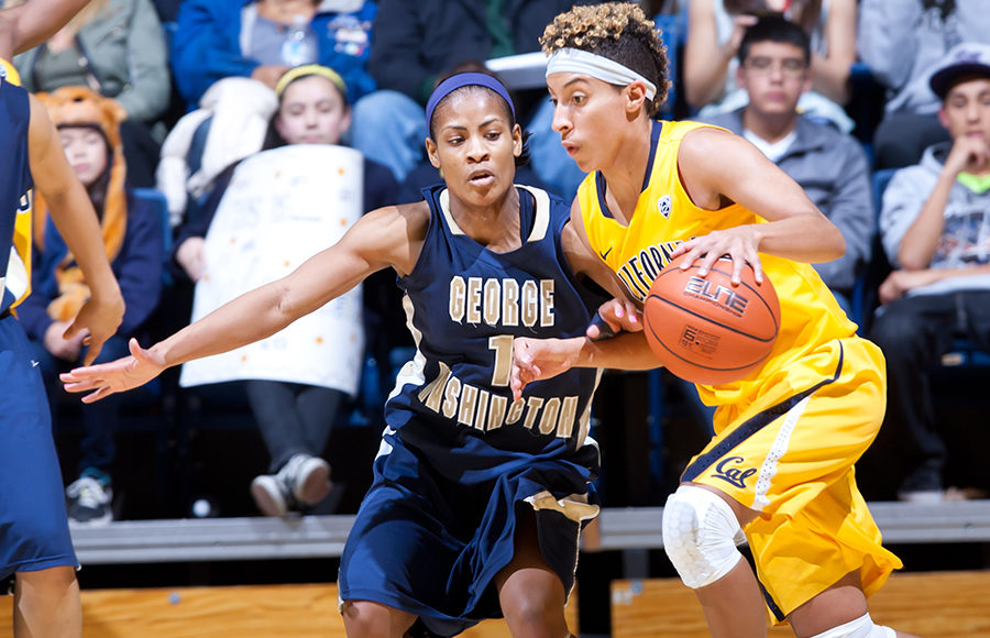 December 28th, 2012: California's Layshia Clarendon  dribbles away from George Washington University's Chakecia Miller during a game at Haas Pavilion in Berkeley, Ca  California defeated George Washington University 70 - 43