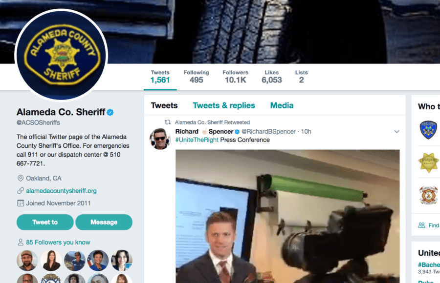 Alameda County Sheriff's Retweet of White Supremacist Press Conference Goes Viral