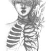 Flowers growing out of ribcage