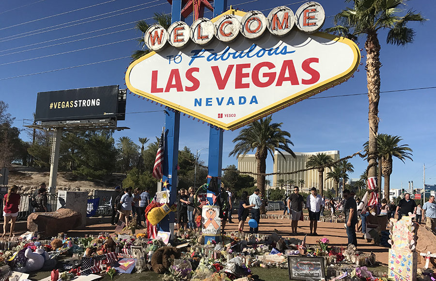 """Welcome to Fabulous Las Vegas"" sign with memorials"
