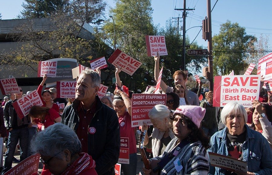 Community members gathered Nov. 5 to protest the planned closure of Alta Bates Summit Medical Center services, which would leave the community without emergency services from Richmond to Downtown Oakland.