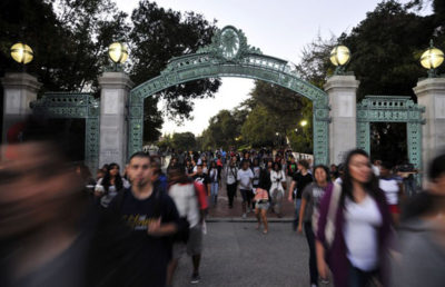 "On September 26, 2011 students assemble at Wheeler Hall at 7:00 PM in protest of the controversal Berkeley College Republicans ""Increase Diversity Bake Sale"". Shortly after assembling at Wheeler students begin moving towards the MLK building, passing through Sather Gate, and onwards to the Multicultural and Community Center."