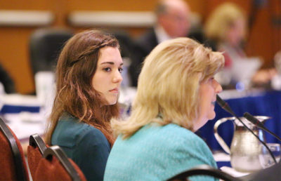 UCLA senior Savannah Badalich and UC Senior Vice President and Chief Compliance and Audit Officer Sheryl Vacca answer questions from the UC Regents at a 2014 meeting on sexual assault across UC campuses.