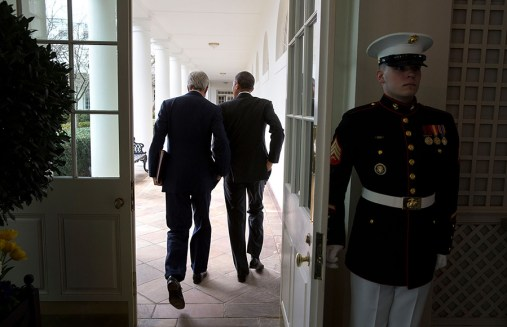 President Barack Obama walks on the Colonnade of the White House with Secretary of State John Kerry following a working lunch with President Ashraf Ghani of Afghanistan, March 24, 2015.