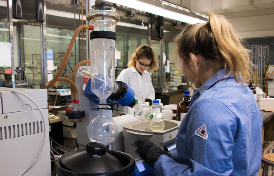 Students work in the College of Chemistry. CalTeach aims to integrate social justice with STEM education.