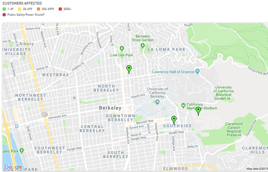 Berkeley Power Outage Map.2 Electrical Power Outages Affect Pg E Customers In Berkeley