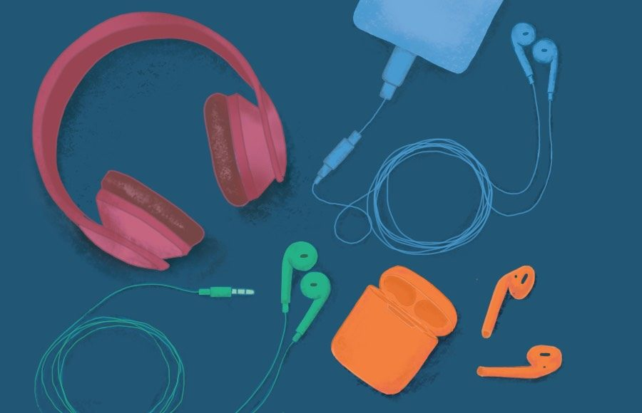 An assortment of colorful over-ear headphones, Apple earbuds, and Airpods