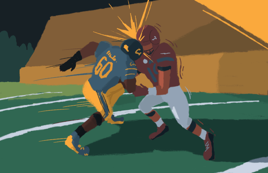 Cal Football player and opposing team player clash on the field