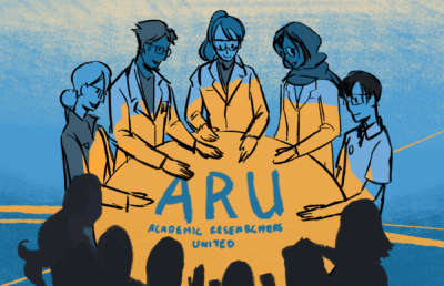 Researchers pointing towards ARU symbol
