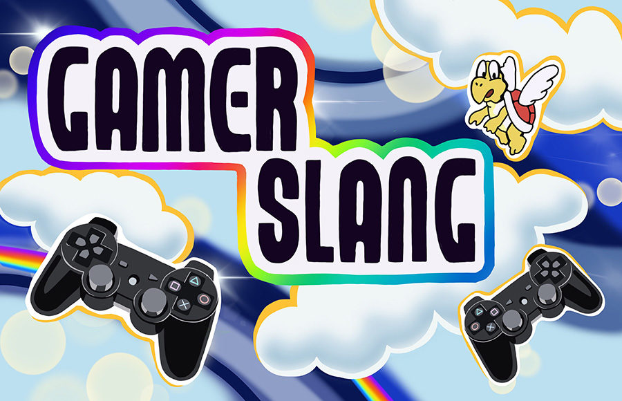 "Play station controllers and Koopa Paratroopa character with text that reads ""Gamer Slang"""