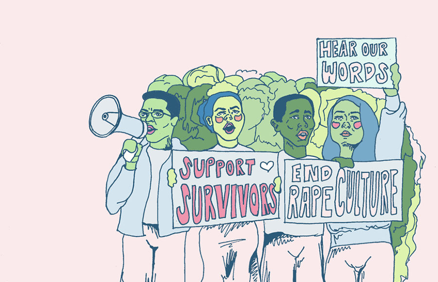 """Crowd of protestors with signs reading """"support survivors, end rape culture, hear our words"""""""