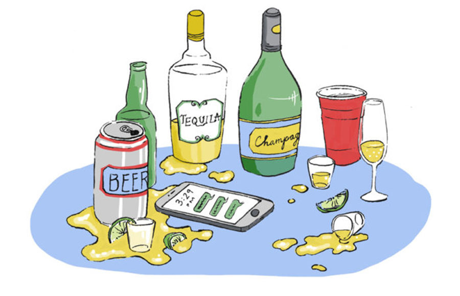 An illustration of an array of alcohol bottles.