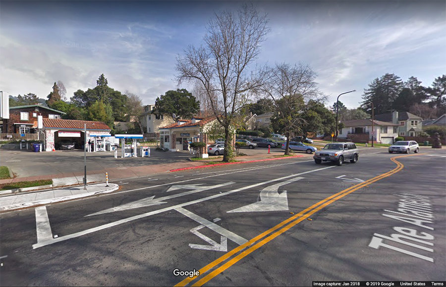 Google Street View of the street and of a Chevron gas station.