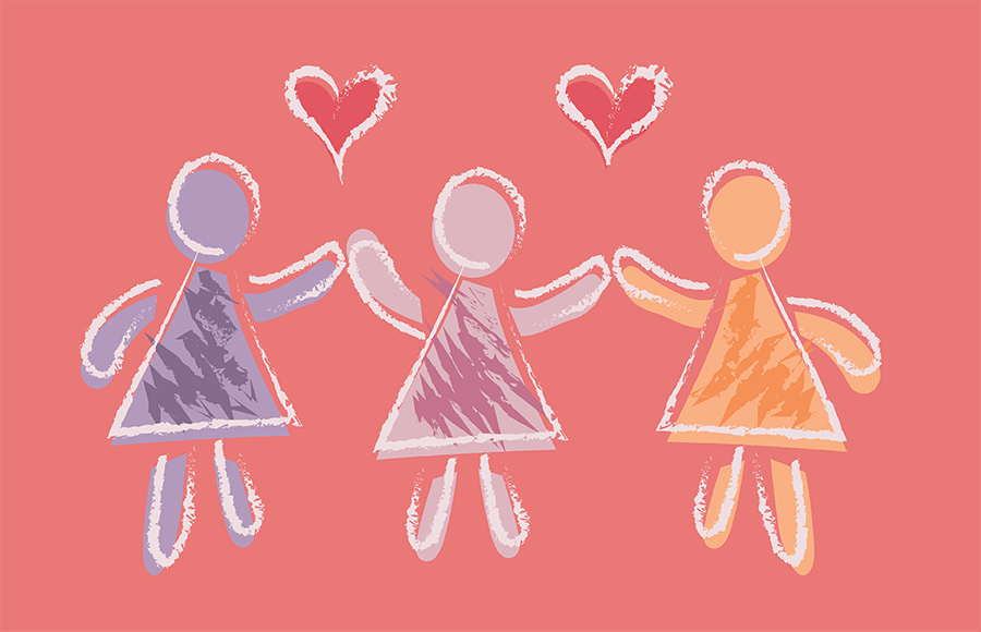 Doll-like figures holding hands