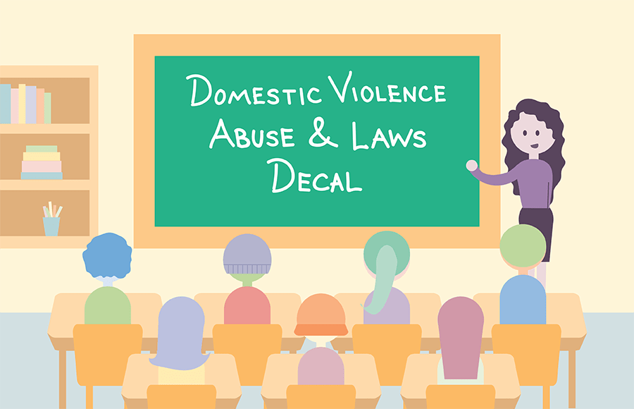 Class of students and teacher in Domestic Violence Abuse and Laws decal