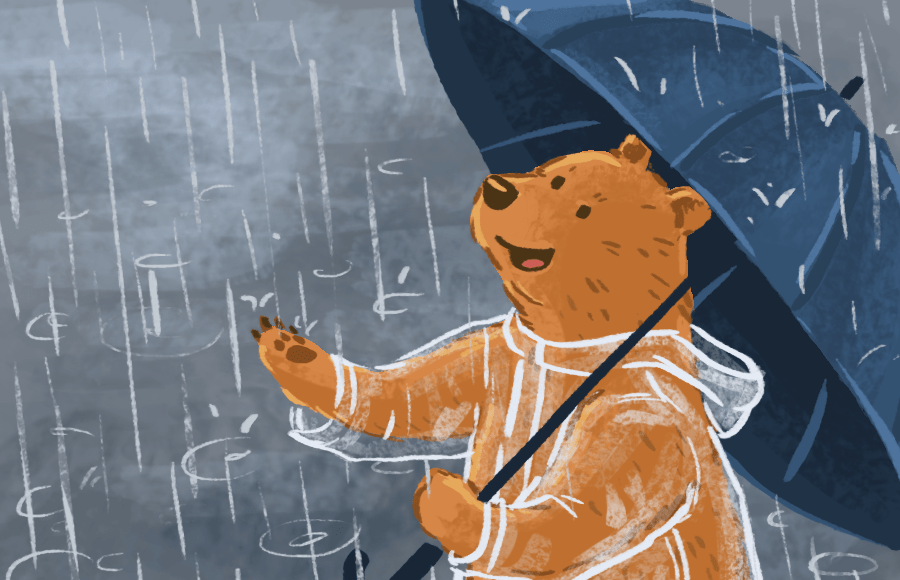 A bear in a raincoat holding an umbrella and standing in the rain