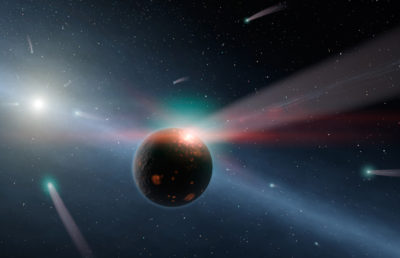 Multiple asteroids fly through outer space. One of them hits a black planet.