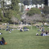 Students relaxing on Memorial Glade