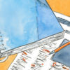 A drawing of a newspaper, a notebook, and a pencil on a light orange surface.
