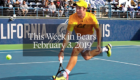 """Man strikes a tennis ball as the words """"This Week in Bears February 3, 2019"""" are printed on top of the image."""