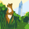 A squirrel in the grass with a Kiwibot and the Campanile in the background