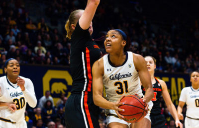 A basketball player looks up with the ball in her hand as another player jumps up to block her.