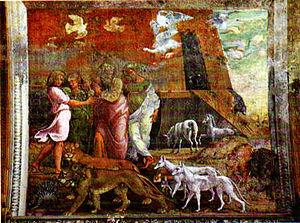 Leaving the ark on Mount Ararat. Palazzi Ponti...