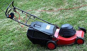Electric lawn mower (Photo credit: Wikipedia)
