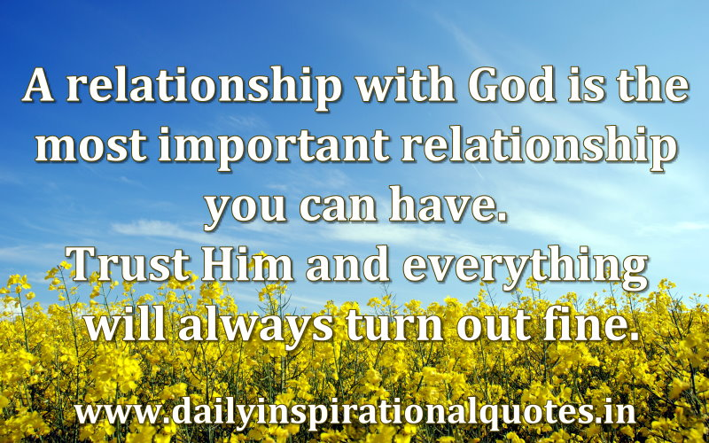 a relationship with god is the most important relationship