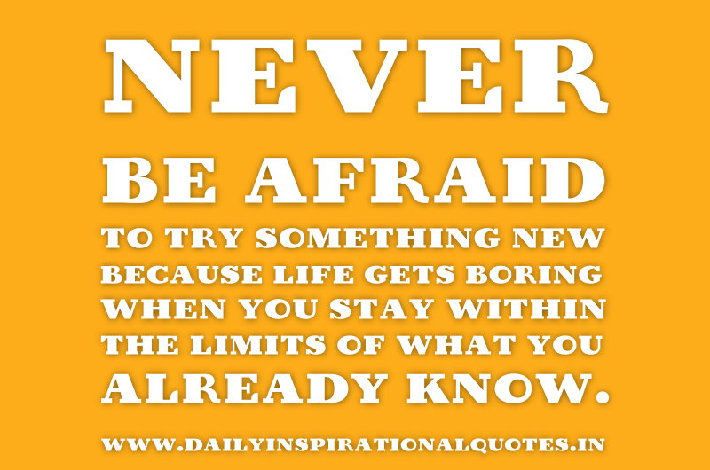 Never be afraid to try something new because life gets boring when you stay within the limits of what you already know. ~ Anonymous