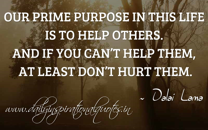 our prime purpose in this life is to help others and if