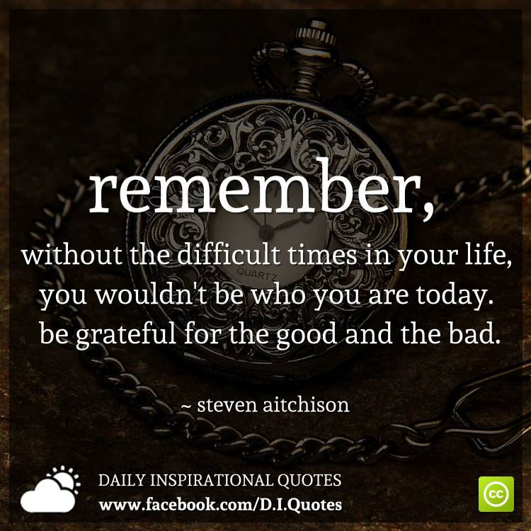 Remember, without the difficult times in your life, you wouldn't be who you are today. Be grateful for the good and the bad. ~ Steven Aitchison