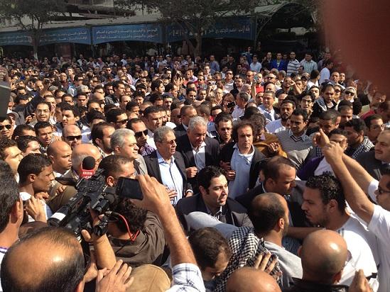 ElBaradei, Sabahi, Amr Mousaa lead civil parties march to Tahrir on Friday against latest presidential decree. (DNE / Basil Al-Dabh)