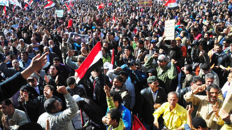 Prosters gather at Tahrir Square 25 January 2013 (Photo by Hassan Ibrahim/DNE)