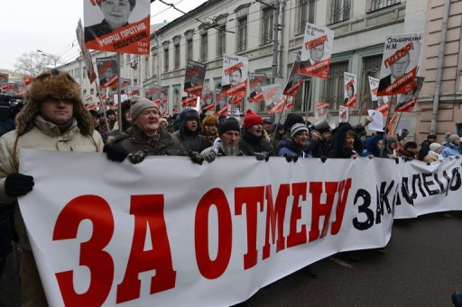 Russian opposition supporters hold a protest rally in Moscow on January 13, 2013 (AFP, Kirill Kudryavtsev)
