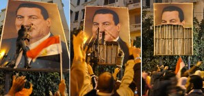 In a series of photos taken on 27 January 2011, demonstrators in the port city of Alexandria dismantle the image Hosni Mubarak AFP Photo