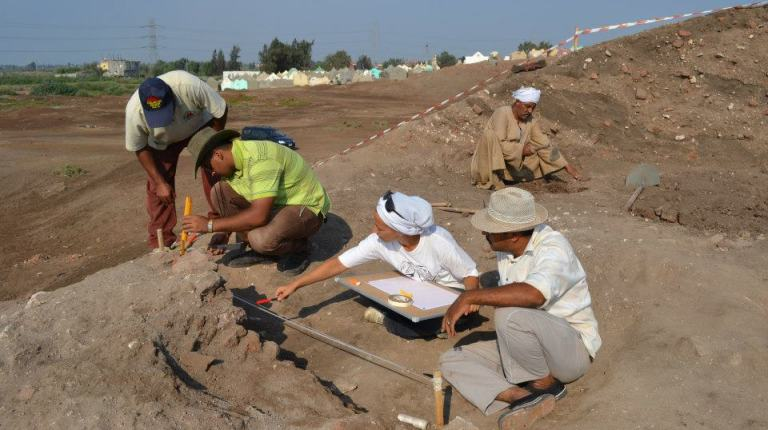 Team members working on site Courtesy of Dr Gasperini