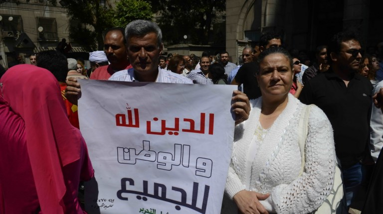Anti-sectarian marches were held in Cairo earlier this month, following violence at the Cathedral (DNE File Photo)