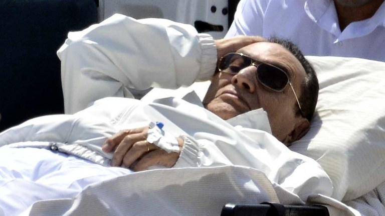 Nasr City Appeals Court ordered on Saturday the acquittal of former president Hosni Mubarak, after accepting his appeal of graft charges brought against him. (AFP Photo)