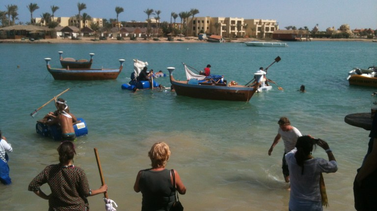 The teams of El Gouna residents and businesses during their recycled raft race in one of the lagoons