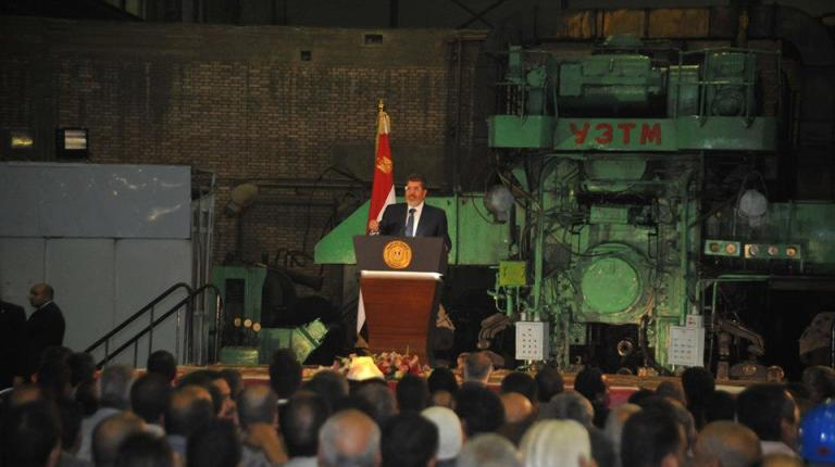President Mohamed Morsi spoke to engineers and workers at a new steel and iron plant in Helwan on Tuesday, ahead of Labour Day.  (Photo Presidency hand out)