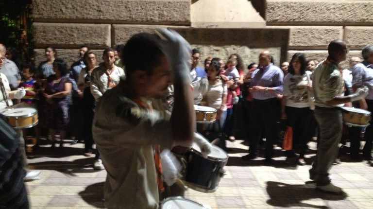 Drummers during the celebrations of Good Friday during Holy Week in Cairo Photo by Basil El-Dabh