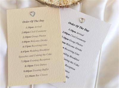 Diamante Heart Wedding Order of Day Cards | Wedding Program