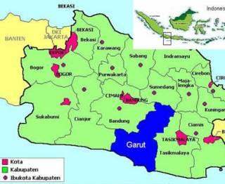 Ilustrasi - Peta Garut di Provinsi Jabar. (inet)
