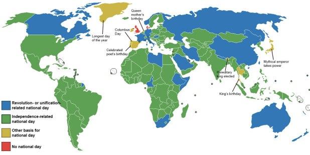 Peta hari libur nasional negara-negara di dunia. (Max Fisher/Washington Post)