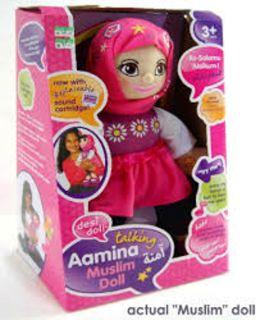 """boneka berjilbab yang berisi pesan:  """"Semoga ulang tahun anda menjadi sebuah ledakan""""."""