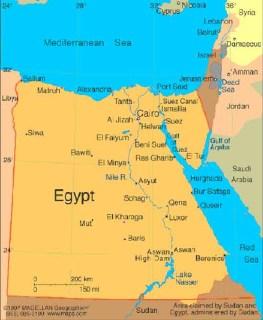 Ilustrasi - Peta Mesir dan Sungai Nil. (inet)