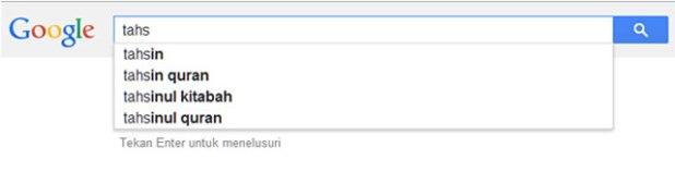 """Ilustrasi - Pencarian di Google dengan kata kunci """"Tahsin"""". (Foto: Abu Qawwam)"""