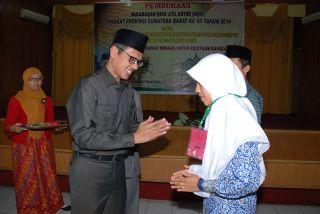 Gubernur Sumbar, Irwan Prayitno membuka kegiatan  Musabaqoh Qira'atil Kutub tingkat Provinsi Sumatera Barat.  (Erwin FS)